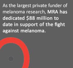 As the largest private funder of melanoma research, MRA has dedicated $88 million to date in support of the fight against melanoma.